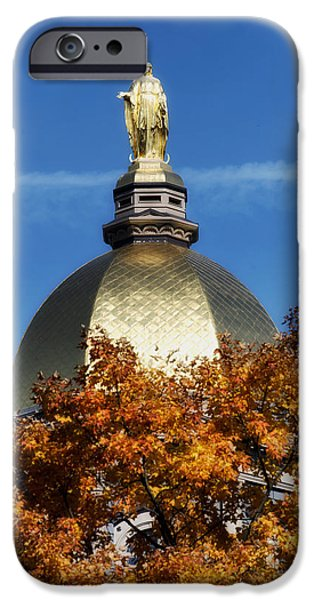 Indiana Autumn iPhone Cases - The Golden Dome of Notre Dame iPhone Case by Mountain Dreams