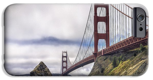 Sausalito Digital Art iPhone Cases - The Golden Gate Bridge iPhone Case by Christopher Cutter