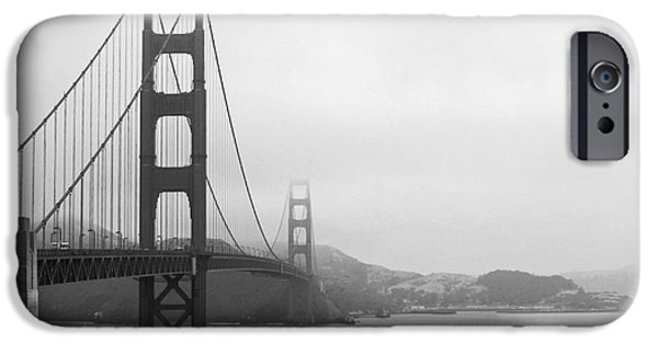 Recently Sold -  - Sausalito iPhone Cases - The Golden Gate Bridge in Classic B W iPhone Case by Connie Fox