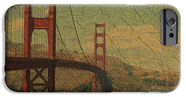 Bay Bridge Mixed Media iPhone Cases - The Golden Gate iPhone Case by Kiki Art