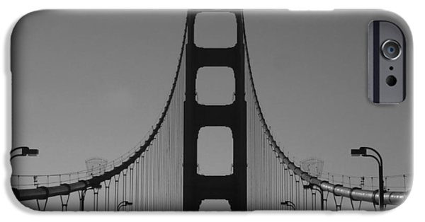 United Pyrography iPhone Cases - The Golden Gate Road iPhone Case by Fabien White