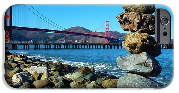Haze Pyrography iPhone Cases - The Golden Gate Rock Pile iPhone Case by Fabien White