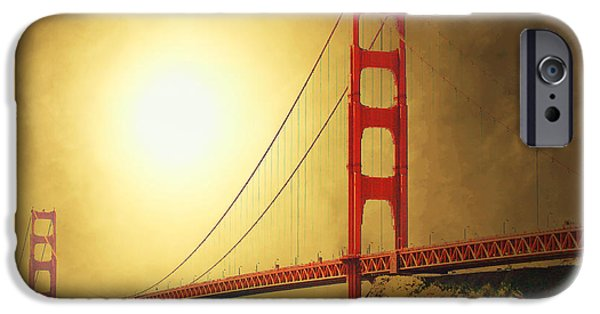 Bay Bridge Mixed Media iPhone Cases - The Golden Gate iPhone Case by Wingsdomain Art and Photography