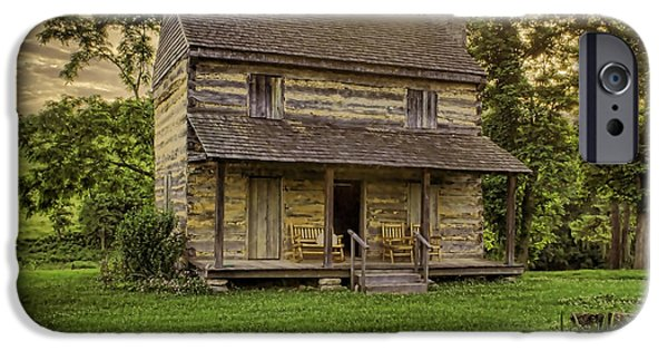 Log Cabin Photographs iPhone Cases - The Golden Hour iPhone Case by Heather Applegate