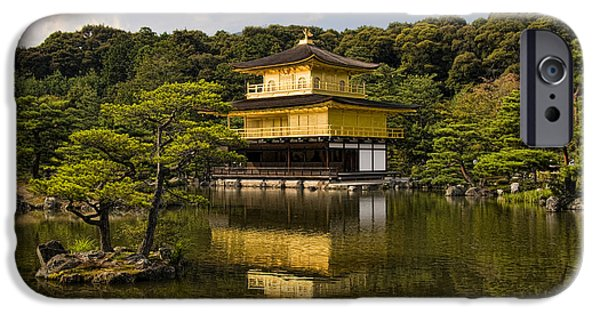Locations iPhone Cases - The Golden Pagoda in Kyoto Japan iPhone Case by David Smith