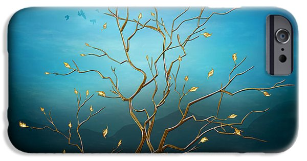 Bedros Mixed Media iPhone Cases - The Golden Tree iPhone Case by Bedros Awak