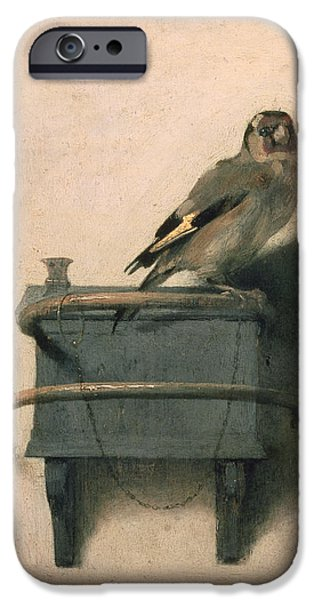 Boxes iPhone Cases - The Goldfinch iPhone Case by Carel Fabritius