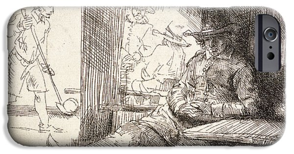 Rembrandt Drawings iPhone Cases - The Golf Player iPhone Case by Rembrandt Van Rijn