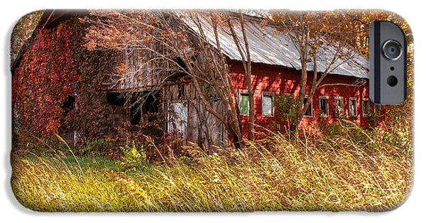 Old Barn iPhone Cases - The Good Old Farming Days iPhone Case by Jennifer White