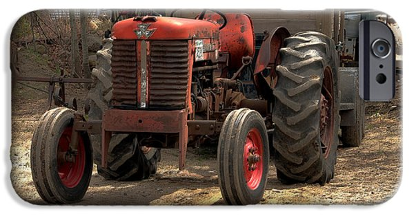 Old Barns iPhone Cases - The good old tractor iPhone Case by Claudia Mottram
