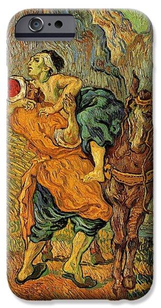Delacroix iPhone Cases - The Good Samaritan after Delacroix 1890 iPhone Case by Vincent Van Gogh