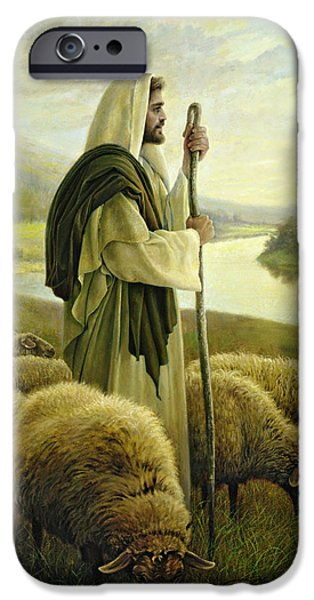 Sheep iPhone Cases - The Good Shepherd iPhone Case by Greg Olsen