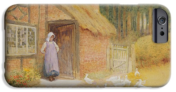 Charming Cottage iPhone Cases - The Goose Girl iPhone Case by Arthur Claude Strachan