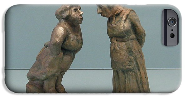 Person Sculptures iPhone Cases - The  gossipers iPhone Case by Nili Tochner