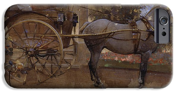 The Horse iPhone Cases - The Governess Cart iPhone Case by Joseph Crawhall