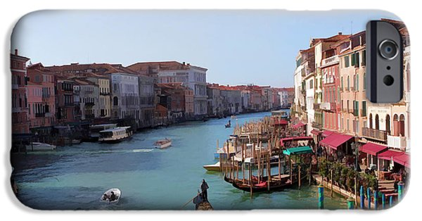 Venetian Canals iPhone Cases - The Grand Canal Venice Oil Effect iPhone Case by Tom Prendergast