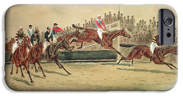 19th Century iPhone Cases - The Grand National Over the Water iPhone Case by William Verner Longe