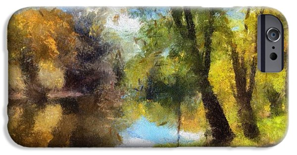 Ledge Mixed Media iPhone Cases - The Grand River In Autumn iPhone Case by J S