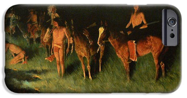 Frederic Remington iPhone Cases - The Grass Fire iPhone Case by Frederic Remington