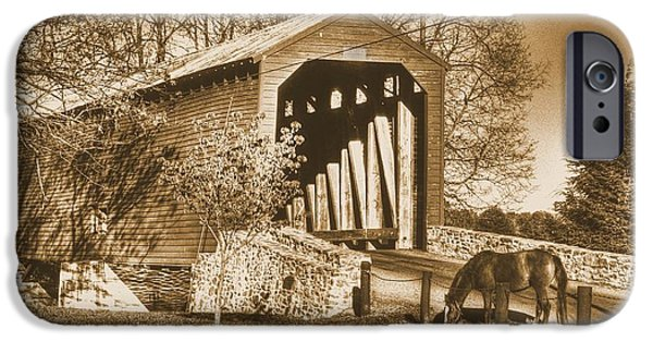 Covered Bridge iPhone Cases - The Grass is Always Greener - Loys Station Covered Bridge - Frederick County Maryland Sepia iPhone Case by Michael Mazaika