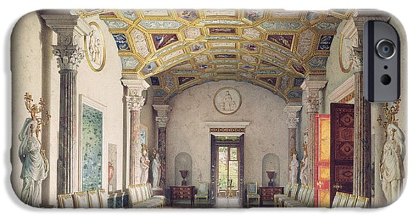 Neo iPhone Cases - The Great Agate Hall In The Catherine Palace At Tsarskoye Selo, 1859 Wc & White Colour On Paper iPhone Case by Luigi Premazzi