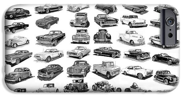 All American Drawings iPhone Cases - The American Car Poster iPhone Case by Jack Pumphrey