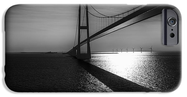 Denmark iPhone Cases - The Great Belt Bridge iPhone Case by Erik Brede