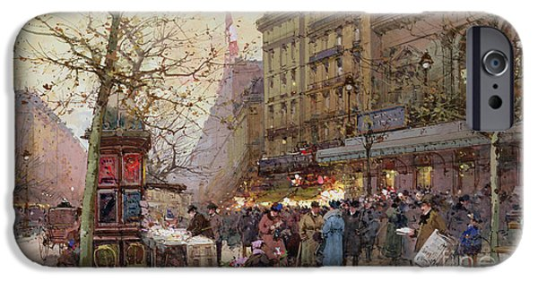 Nineteenth Century iPhone Cases - The Great Boulevards iPhone Case by Eugene Galien-Laloue