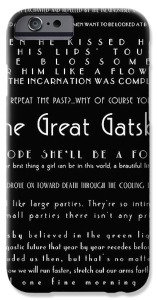 Words On Art iPhone Cases - The Great Gatsby Quotes iPhone Case by Nomad Art And  Design