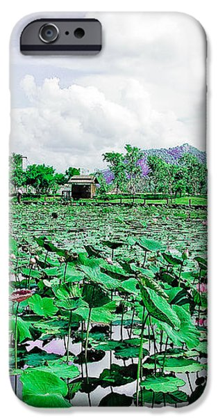The great lotus flower pond iPhone Case by Jeng Suntorn niamwhan