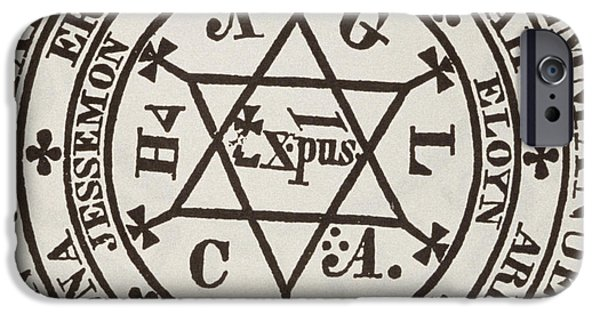 Stars Drawings iPhone Cases - The Great Magic Circle of Agrippa for the Evocation of Demons iPhone Case by Italian School