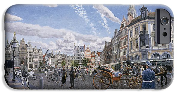 Police iPhone Cases - The Great Market Square In Antwerp, 1996 Oil On Board iPhone Case by Huw S. Parsons