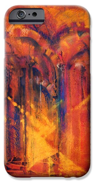 Sun Rays Pastels iPhone Cases - THE GREAT MOSQUE OF CORDOBA   Directing to the Mind of God  iPhone Case by Josie Taglienti