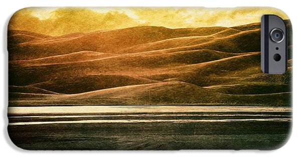 Epic Amazing Colors Landscape Digital Modern Still Life Trees Warm Natural Earth Organic Paint Photo Chic Decor Interior Design Brett Pfister Art Digital Art iPhone Cases - The Great Sand Dunes iPhone Case by Brett Pfister