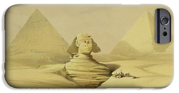 Remnant iPhone Cases - The Great Sphinx and the Pyramids of Giza iPhone Case by David Roberts