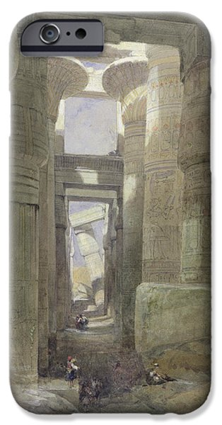 Egyptian iPhone Cases - The Great Temple Of Amon Karnak, The Hypostyle Hall, 1838 Wc & Gouache Over Graphite On Paper iPhone Case by David Roberts