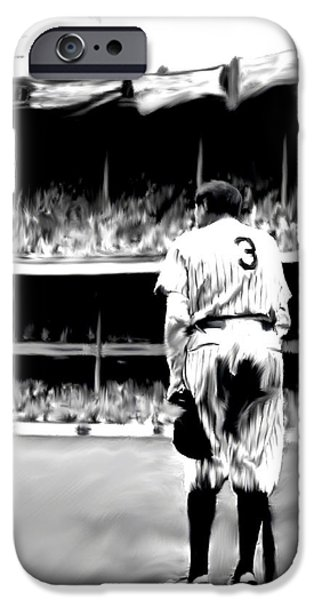 Fame Drawings iPhone Cases - The Greatest of All  Babe Ruth iPhone Case by Iconic Images Art Gallery David Pucciarelli