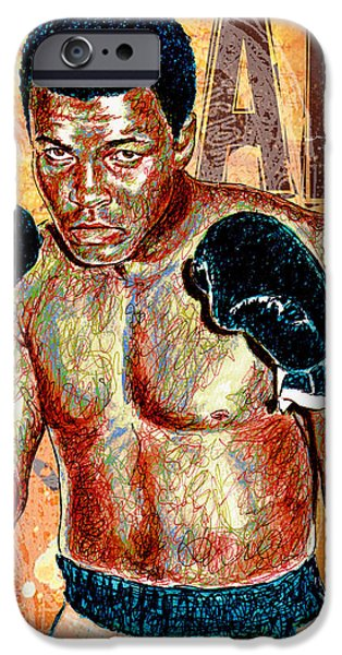 Icons Drawings iPhone Cases - The Greatest of All Time iPhone Case by Maria Arango