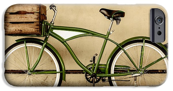 Wooden Crate iPhone Cases - The Green Bike iPhone Case by Martin Bergsma