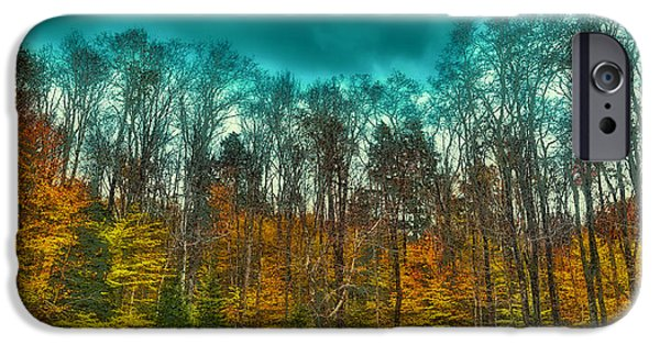 Surreal Landscape iPhone Cases - The Green Bridge Road in Autumn iPhone Case by David Patterson