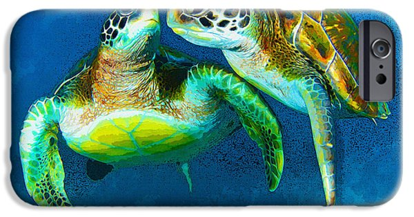 Sea Birds iPhone Cases - The green sea turtle iPhone Case by Don Kuing