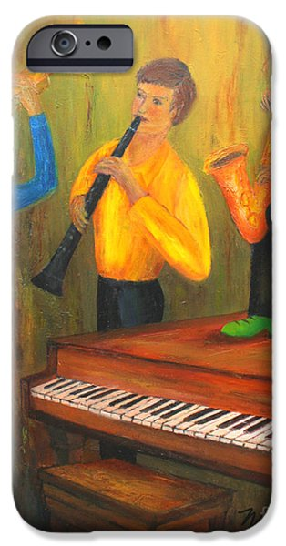 Grand Piano Paintings iPhone Cases - The Green Shoe Quartet iPhone Case by Larry Martin