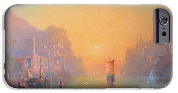Earth Paintings iPhone Cases - The Grey Havens. The Gulls Lament.  Oil on Canvas iPhone Case by Joe  Gilronan