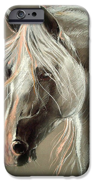 Horse Pastels iPhone Cases - The Grey Horse Soft Pastel iPhone Case by Angel  Tarantella