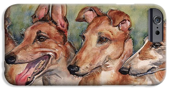 Greyhound iPhone Cases - The Greyhounds iPhone Case by Maria