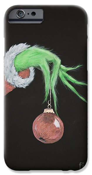 Xmas Paintings iPhone Cases - The Grinch iPhone Case by Steven Dopka