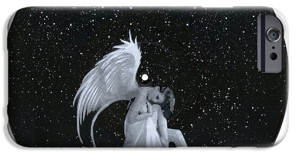 Night Angel iPhone Cases - The Guardian Angel iPhone Case by Tim Kravel