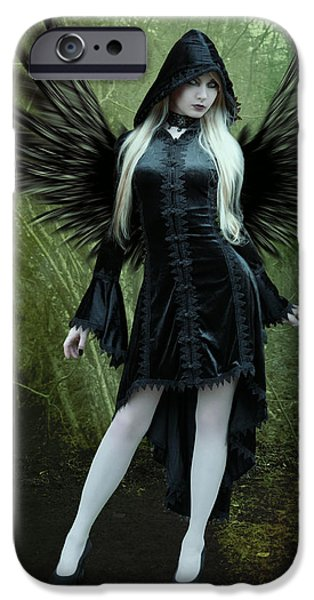 Seraphim Angel Digital Art iPhone Cases - The Guardian iPhone Case by Ester  Rogers