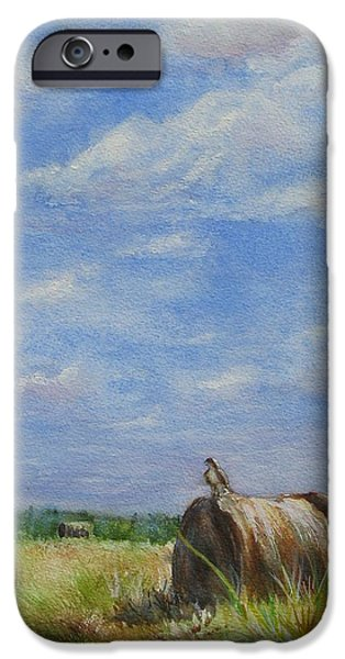 Haybales Paintings iPhone Cases - The Guardian iPhone Case by Joan Senkowicz