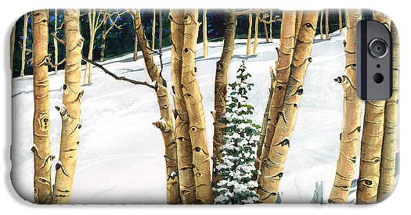 Snow Scene Paintings iPhone Cases - The Guardians iPhone Case by Barbara Jewell